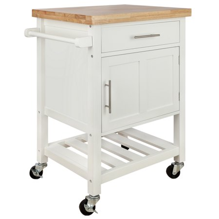 Homegear Kitchen Cart Butchers Block with Shelf and Cabinet on Wheels White