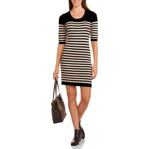 Allison Brittany Allison Brittney Women's Elbow Sleeve Striped Sweater Dress