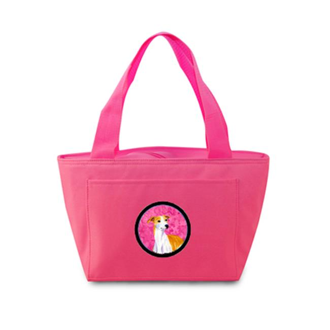 Pink Whippet Zippered Insulated School Washable And Stylish Lunch Bag Cooler