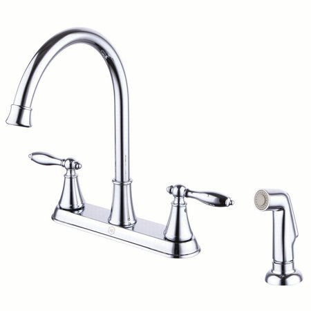 Windon Bay Winchester Two Handle Kitchen Faucet with Side Spray in Polished  Chrome