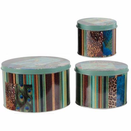 Decorative Tin (Enchanting Multicolor of Round Decorative Tin Boxes - Set of 3)