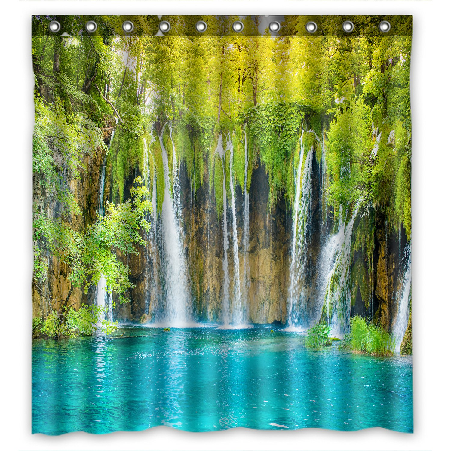Forest Lake Fabric Home: PHFZK Nature Scenery Shower Curtain, Beautiful Waterfall