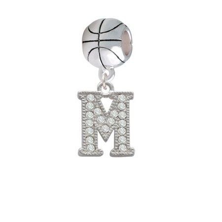Crystal Initial - M - Beaded Border - Basketball Charm Bead