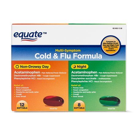 Equate Cold & Flu Formula, 12 Non-Drowsy Softgels, 8 Night