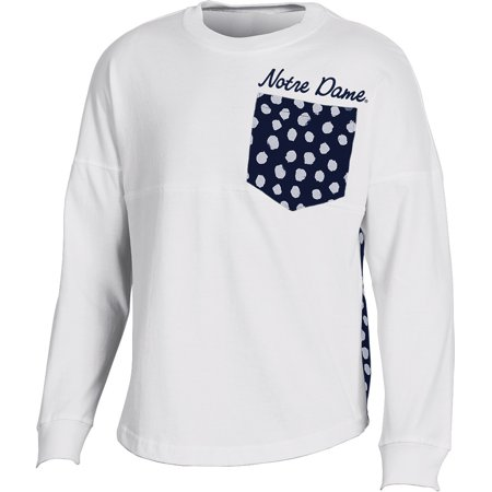 Girls Youth White Notre Dame Fighting Irish Fan Oversized Long Sleeve T-Shirt