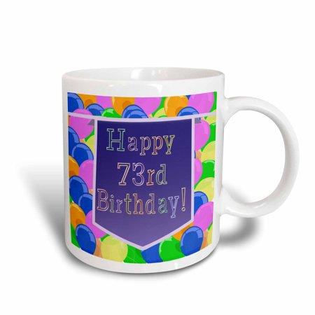 3dRose Balloons with Purple Banner Happy 73rd Birthday, Ceramic Mug, 11-ounce - Purple Birthday Banner