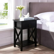 Eily Wooden Table with Storage Shelf, Drawer by Naomi Home-Color:Black