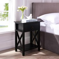 Eily Wooden Nightstand with Storage Shelf, Drawer by Naomi Home-Color:Black