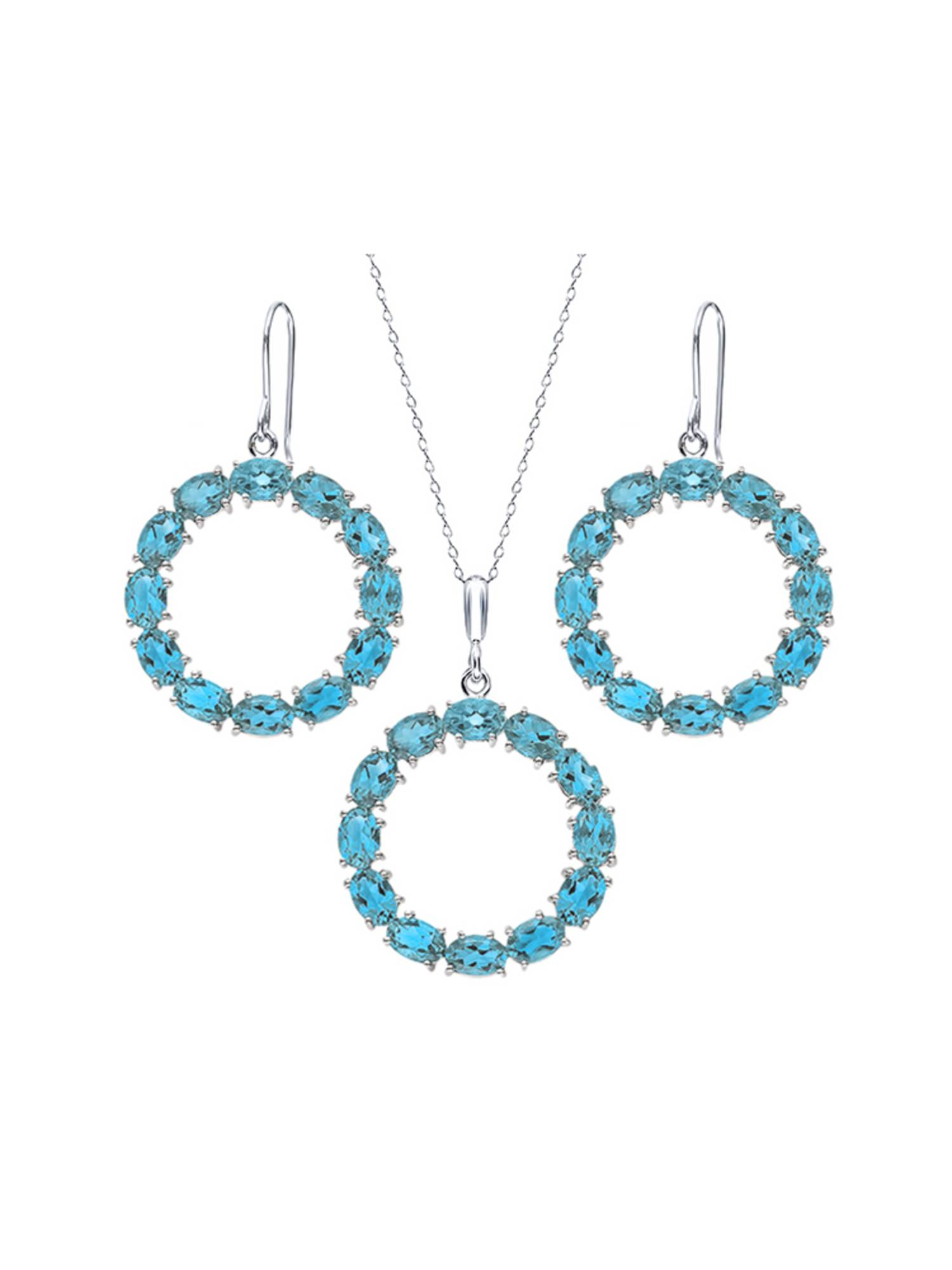 21 Ctw Oval Swiss Blue Topaz Sterling Silver Circle Pendant Earrings Set by