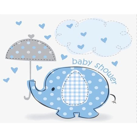 Elegant Birthday Cakes (Little Blue Elephant With Umbrella Boy Baby Shower Edible Cake Topper Image)