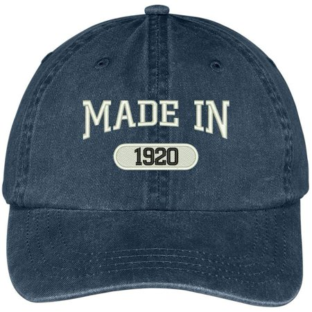 Trendy Apparel Shop Made In 1920 Embroidered Pigment Dyed Cotton Cap - Navy](1920 Clothes)
