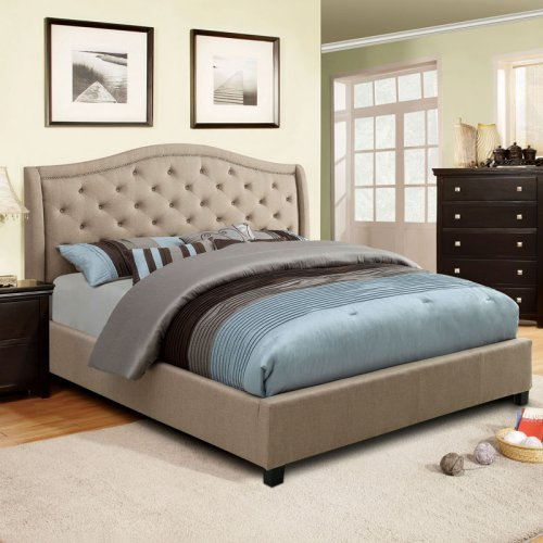 Furniture of America Luis Cantina Upholstered Low Profile Bed