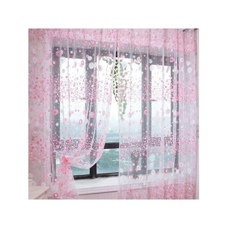 ZEDWELL Window Screens Tulle Bronzing Flower Door Curtain Panel Sheer Scarfs