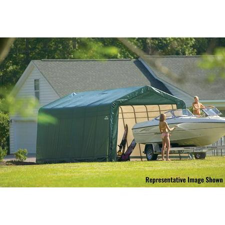 Green Carport - Shelterlogic 13' x 28' x 10' Peak Style Carport Shelter