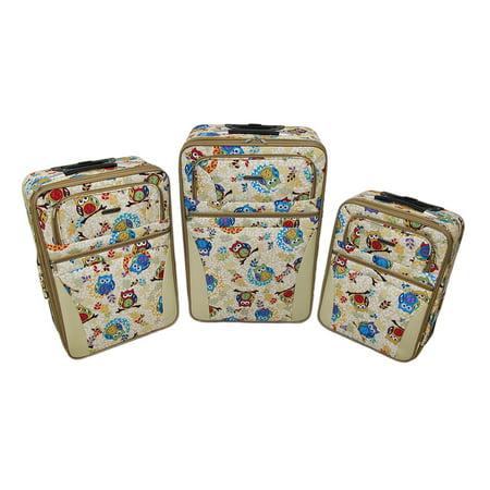 3 Piece Retro Owl Print Beige Rolling Suitcase Luggage Set