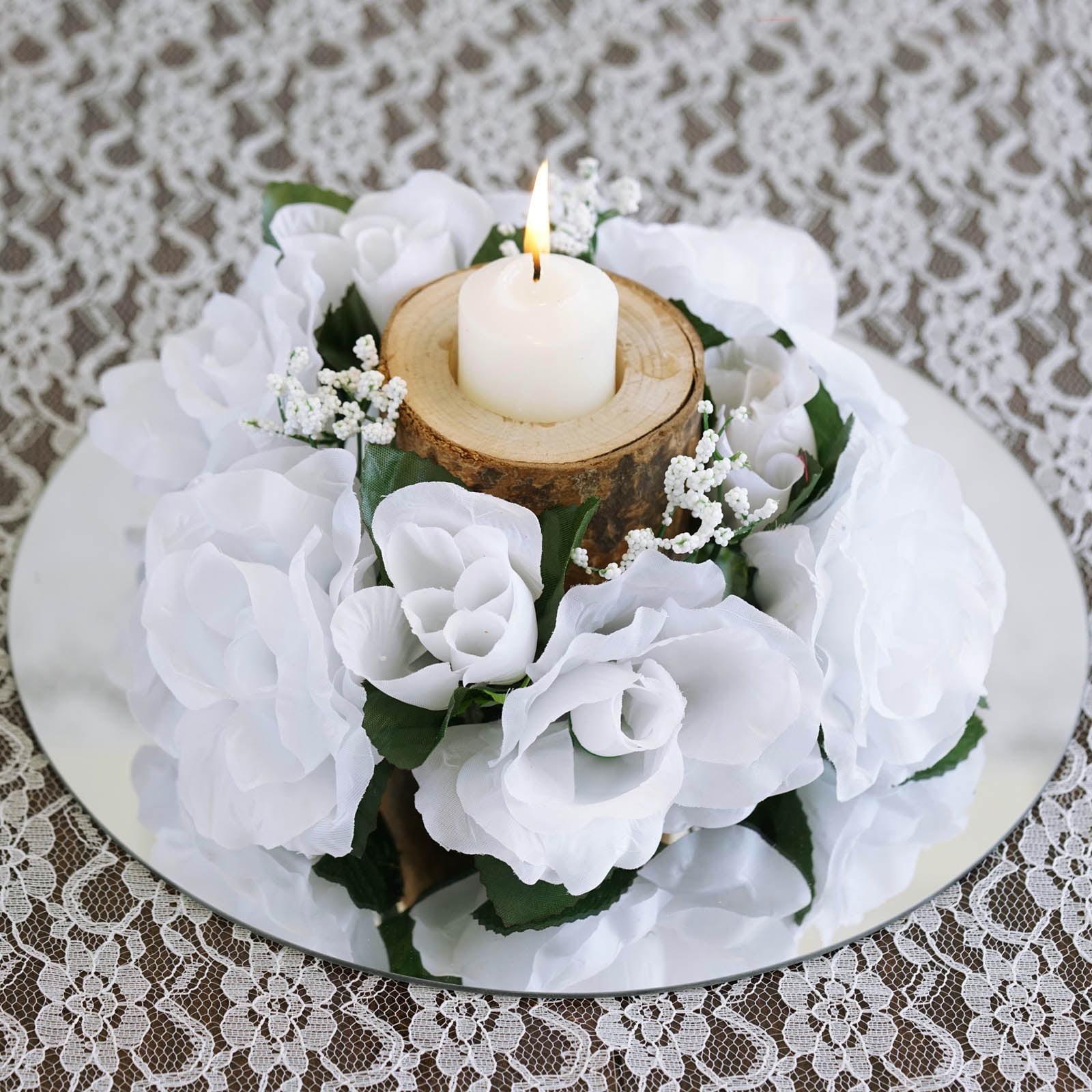 BalsaCircle 8 Silk Roses Flowers Candle Rings - DIY Home Wedding ...