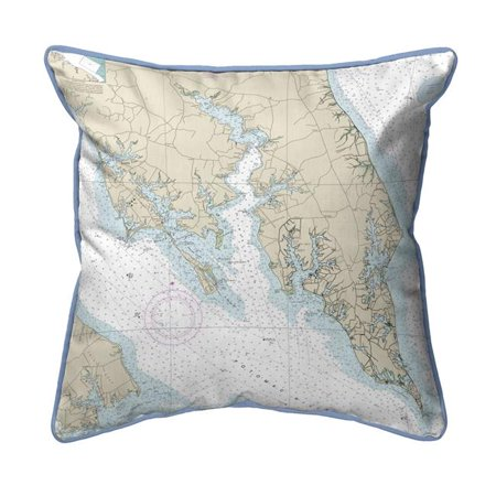 Betsy Drake SN12233LT Leonardtown, MD Nautical Map Small Corded Indoor & Outdoor Pillow - 12 x 12 in. - image 1 of 1