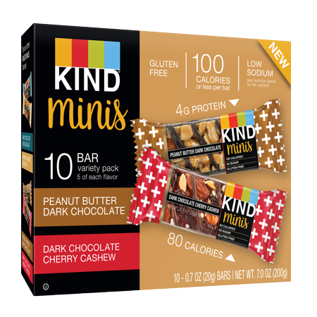 Kind Mini, Peanut Butter Dark Chocolate and Dark Chocolate Cherry Cashew, 10 Ct, Gluten Free, 100 Calories