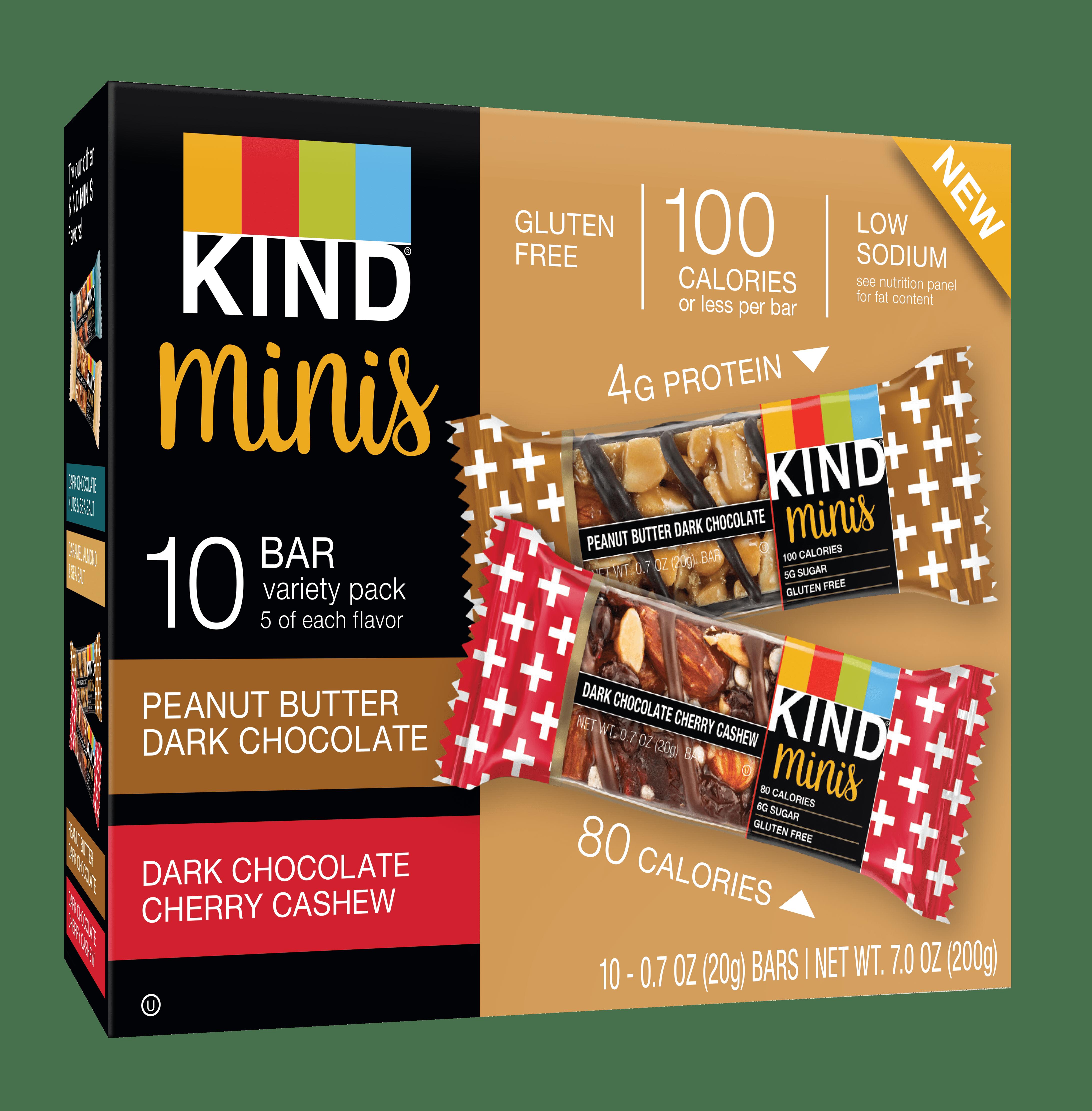 Kind Mini, Peanut Butter Dark Chocolate and Dark Chocolate Cherry Cashew, 10 Ct, Gluten Free, 100 Calories