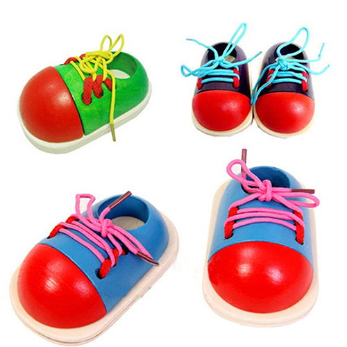 Micelec Wooden Toy Shoelaces Shoes Lacing Tie Learning Preschool Skills Development Tool by 4.08