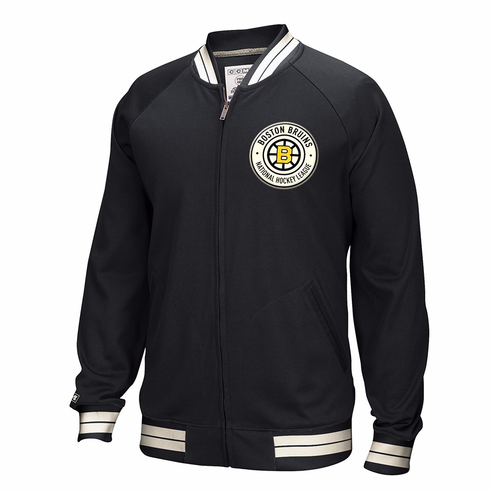Boston Bruins NHL CCM Black Full Zip Premium Throwback Retro Track Jacket For Men (3XL)