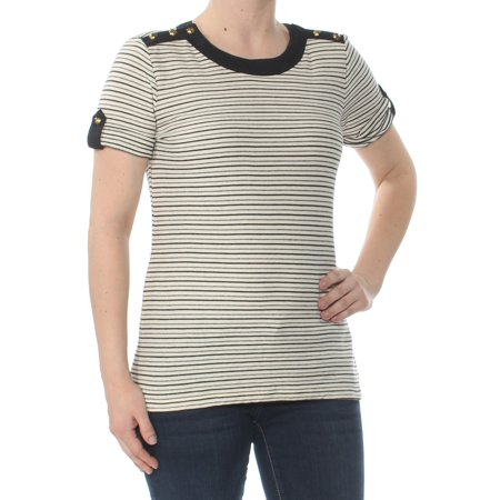 RALPH LAUREN Womens Beige Striped Embellished Short Sleeve Jewel Neck Top Size: S