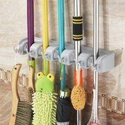 Jeobest Mop and Broom Holder - Multipurpose Wall Mounted 5 Position and 6 Hooks Mop and Broom Storage Tool Rack Anti-skid Wall Mount Mop Holder Cleaning Tool Organizer for Kitchen Garden