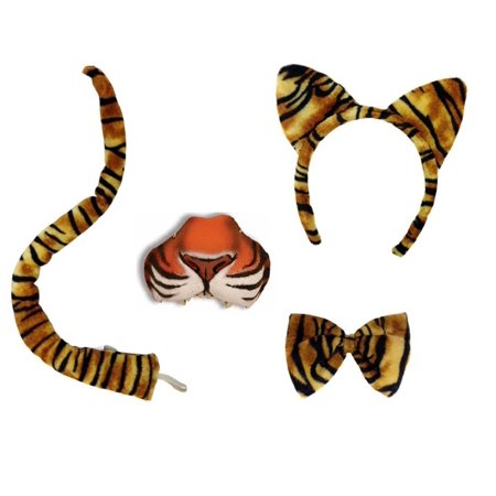 Tiger Animal Kit Ears Headband Tail Bowtie Mini Nose Mask Set Costume Accessory (Catwoman Mask And Ears Costume)