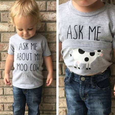 Baby Boys Ask Me About My Moo Cow Print Short Sleeve Cotton Pullover Tops T-Shirts Toddler Kids Funny O Neck Flip Up - O Children