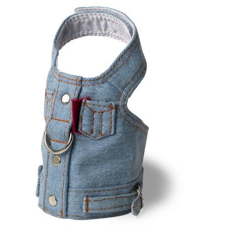 Denim Dog Harness Vest - Blue Jean Jacket Denim Vest Dog Harness by Doggles - XX-Small