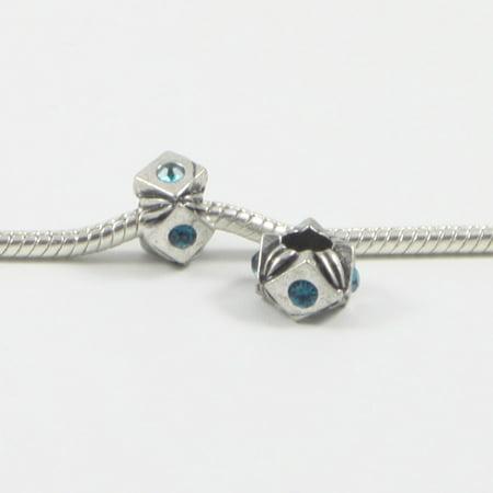3 Beads - Blue Diamond Square Rhinestone Barrel Silver European Bead Charm