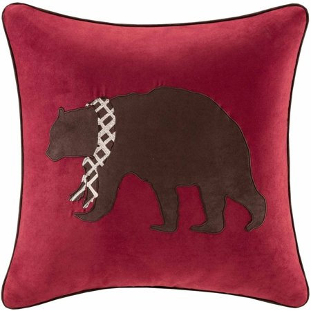 Home Essence Bear Embroidered Suede Square Pillow ()