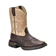 Western Boots Boys 8 Saddle Square Toe Dark Brown Tan BT202