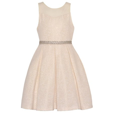 Rare Editions Girls Ivory Glitter Waist Sleeveless Stylish Dress ()