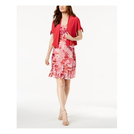 R&M RICHARDS Womens Pink Lace  & Split Sleeve Jacket Printed Scoop Neck Above The Knee Dress Petites  Size: 4 Lace Print Jacket