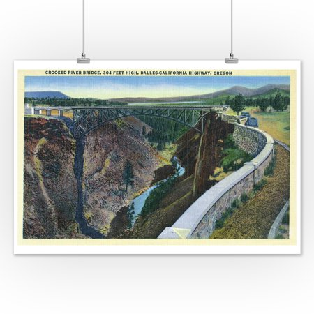 Oregon - Dalles-California Highway View of the Crooked River Bridge (12x18 Art Print, Wall Decor Travel Poster)