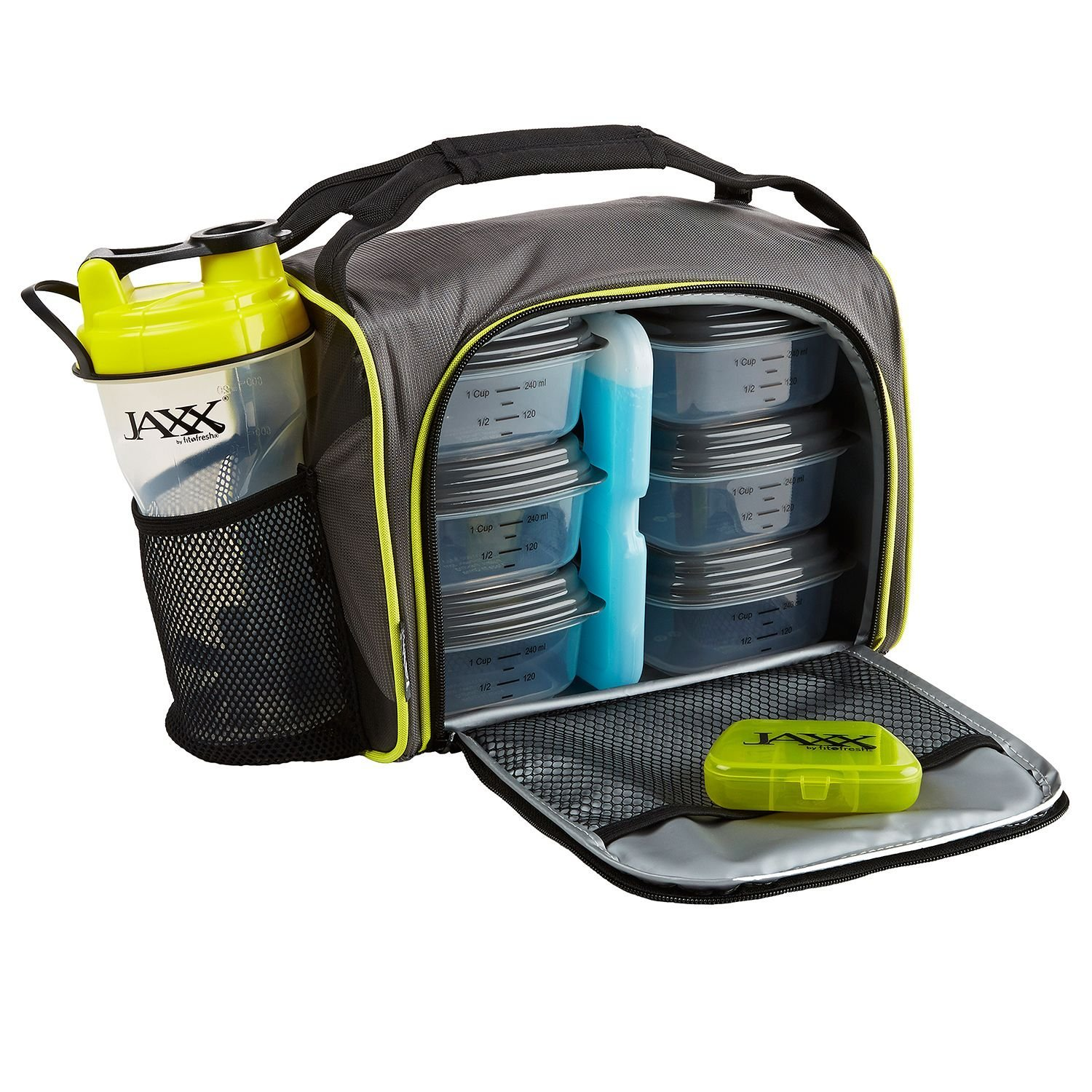 Jaxx FitPak with Portion Control Container Set, Reusable Ice Pack, and Shaker Cup (Black Yellow)