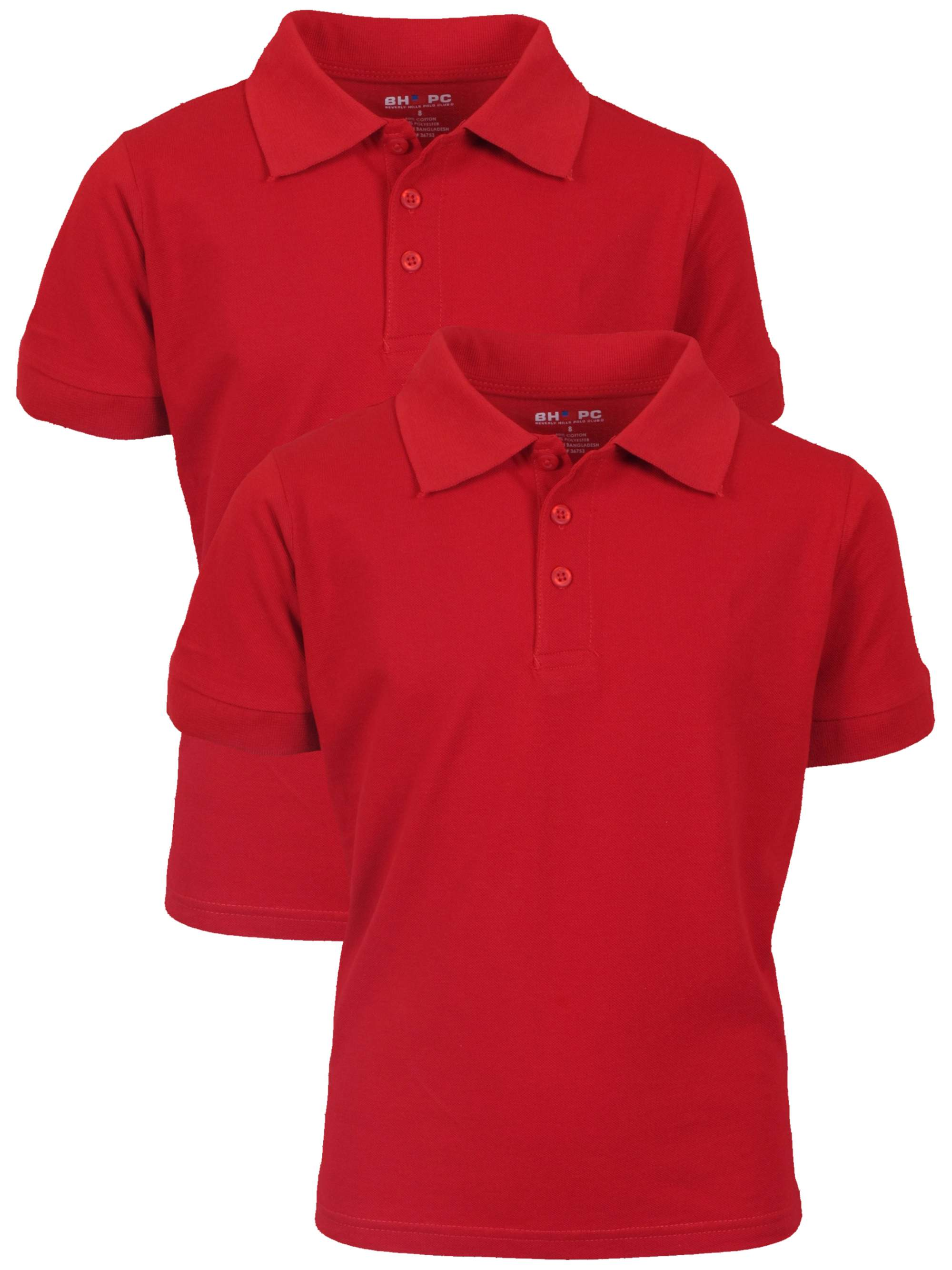 Boy's Uniform Short Sleeve Cotton Jersey Polo, 2 pack
