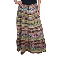 Mogul Womens Colorful Printed Maxi Skirt A-Line Bohemian Fashion Ethnic Long Skirts