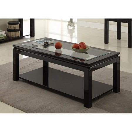 Furniture Of America Kristof Glass Top Coffee Table In Glossy Black - Glossy black coffee table