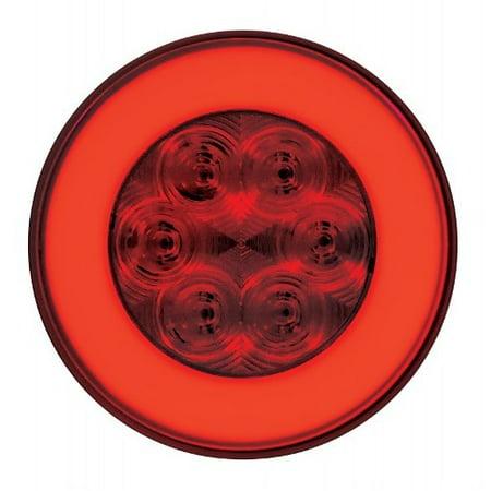 "(2) "" Halo "" Red 21 LED 4"" Round Trailer Truck Stop Turn Brake Tail Light Kits"