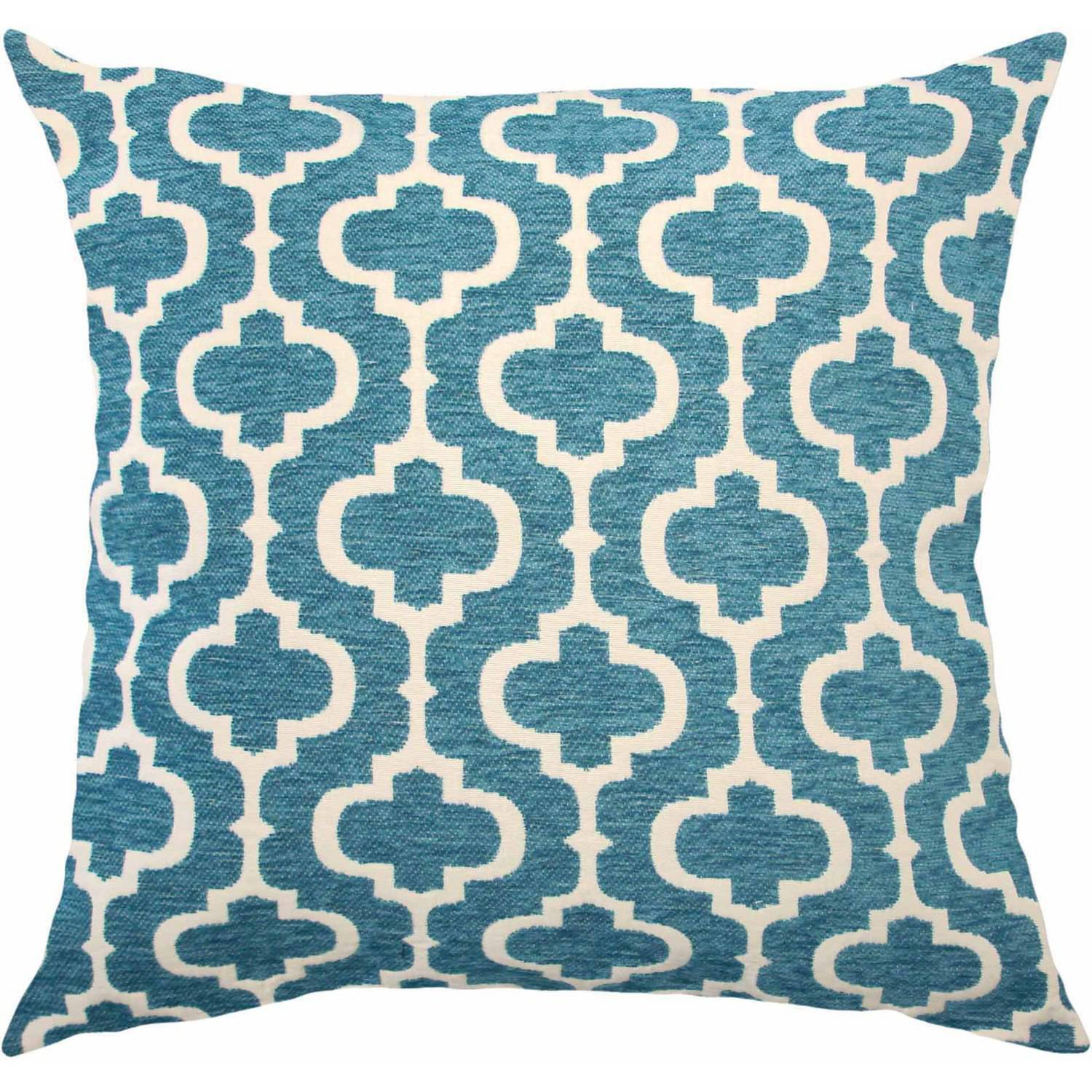 Better Homes and Gardens Teal Latticework  Classic Chenille Reversible Pillow