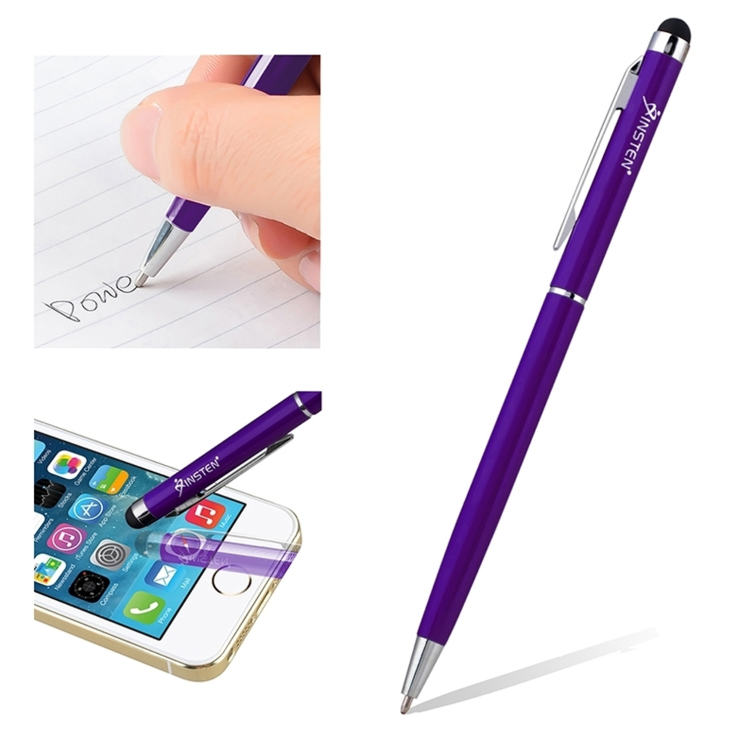 Insten Universal Purple 2in1 Capacitive Touch Screen Stylus with Ball Point Pen For Mobile Cell Phone iPhone X 8 7 6 Plus SE 5s iPad Air Pro Mini Tablet iPod Touch Samsung Galaxy Tab E A S2 4 3 S9 S9+