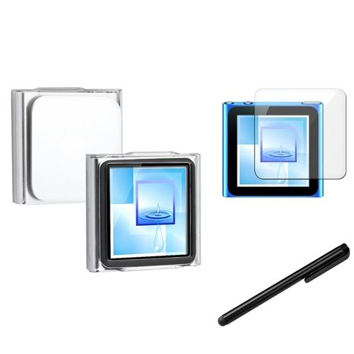 Insten Black Stylus+Clip-on Crystal Case+Screen Protector For Apple iPod Nano 6 6th 6G Gen