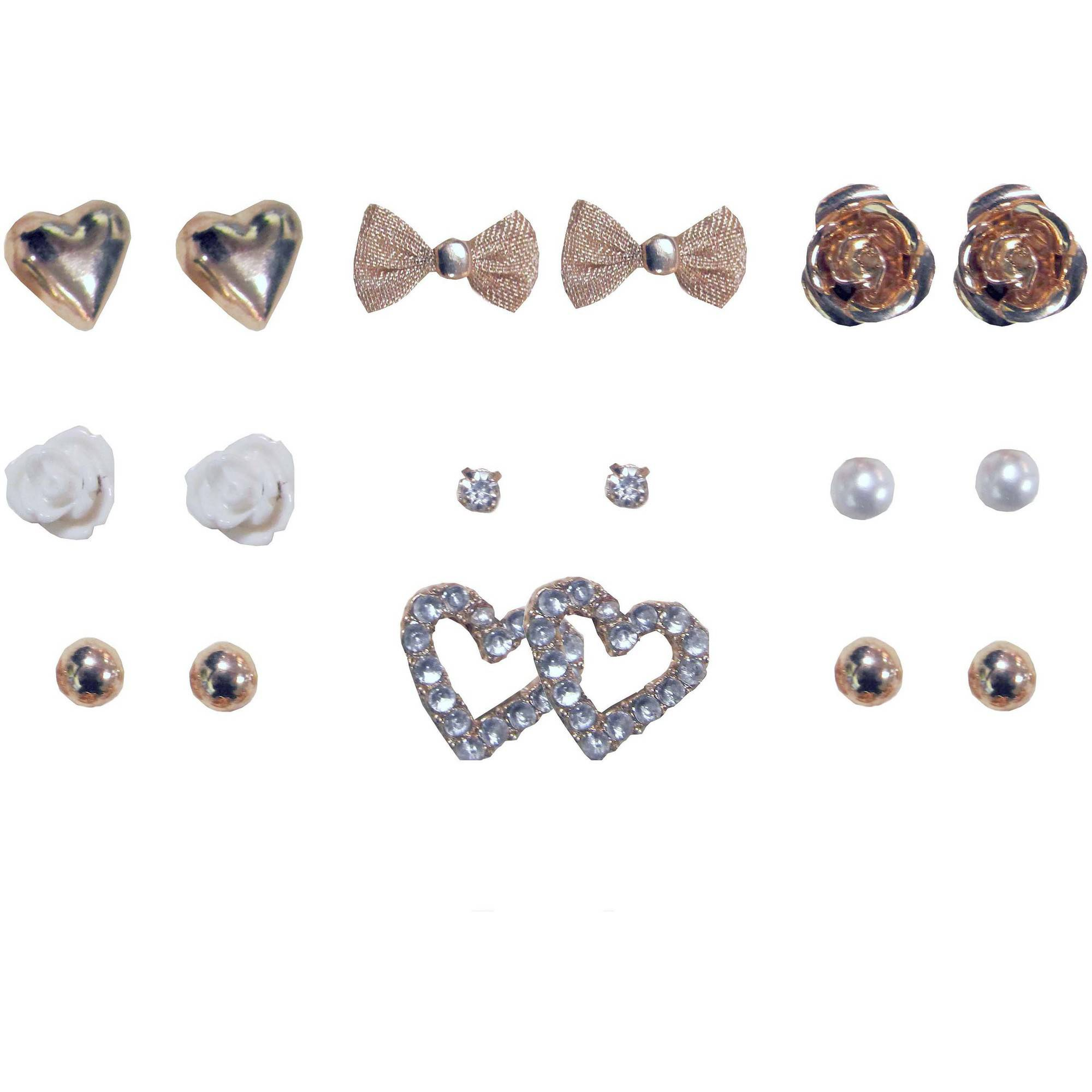 Heart, Flower and Rhinestone Multiple Earring Set, 9-Pack