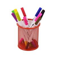 Mesh Pen Pencil Holder Metal Pen Organizer Storage Stationery Container Round Padded Base for Desk School Office