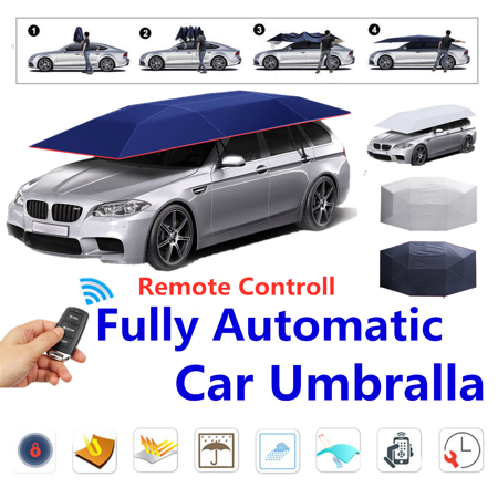 158*83inch Automatic/Semi-automatic Universal Car Tent Car Umbrella Movable Carport Sun Shade Roof Cover Awning Rain UV Protection - Semi Automatic Gearbox