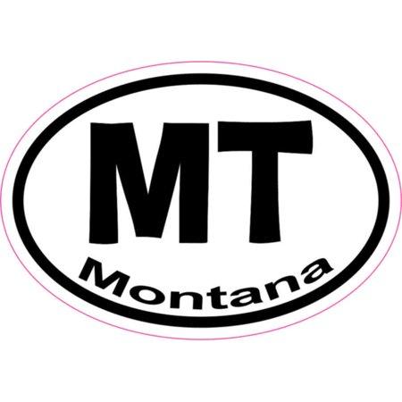 3in x 2in Oval MT Montana Sticker Vinyl Car Window State Bumper (Montana State Car)