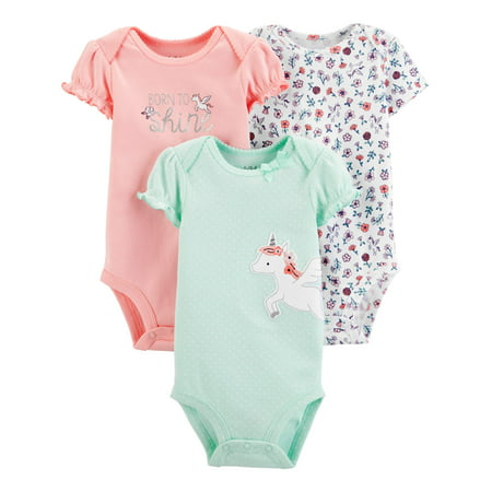 Child Of Mine By Carter's Short Sleeve Bodysuits, 3pk (Baby Girls) ()