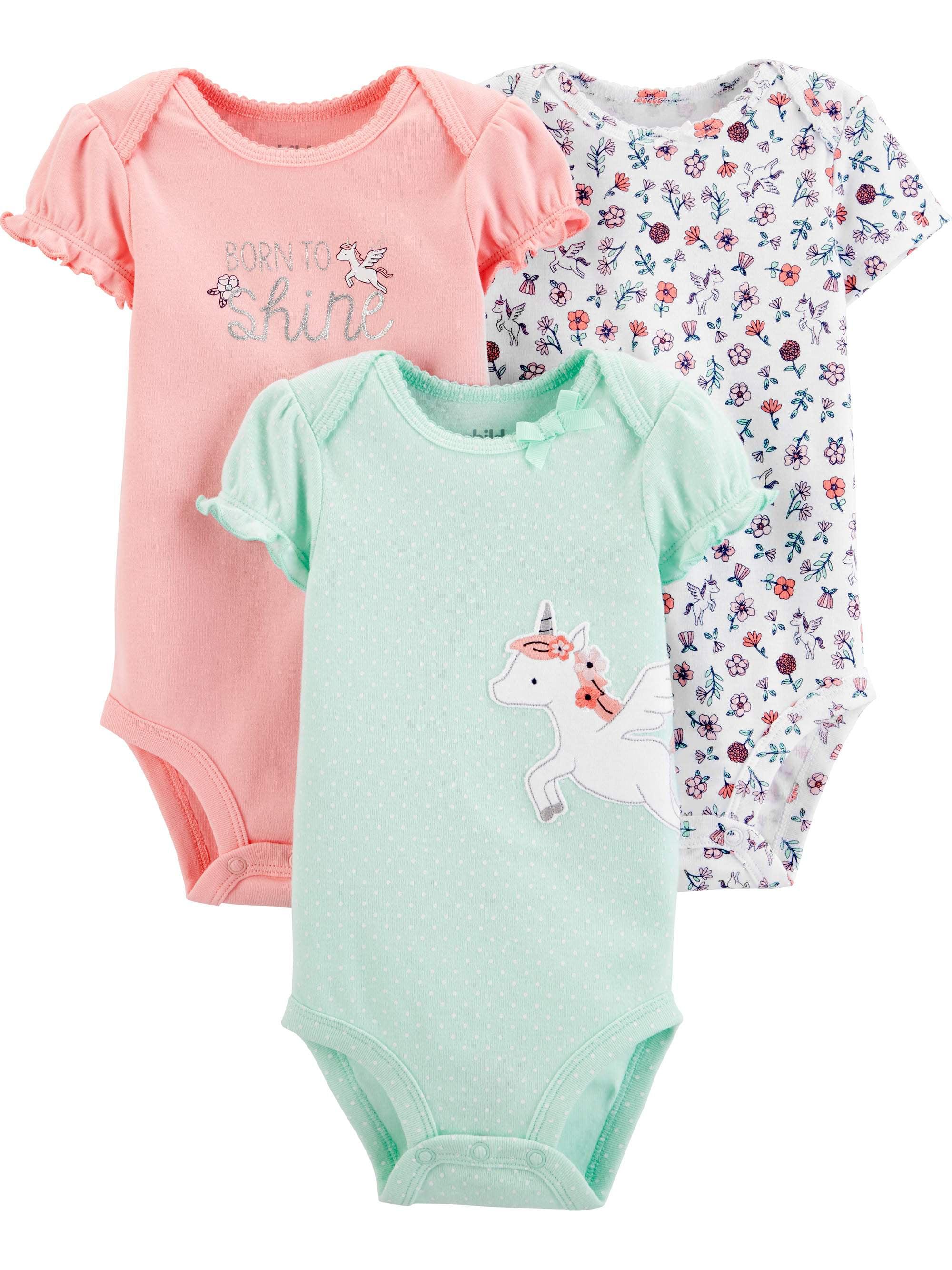 Short Sleeve Bodysuit, 3 pack (Baby Girls)